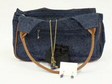 Women's Denim Printed Handbag with Necklace and Earring Set