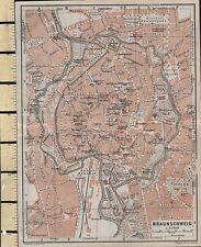 1925 GERMAN MAP ~ BRAUNSCHWEIG CITY PLAN ENVIRONS GARDENS PARKS PUBLIC BUILDINGS