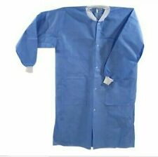 ( ALL SIZES) Medical Dental Disposable Lab Coat Gown Blue 10/bag with pockets