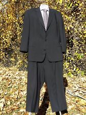 "BOSS HUGO BOSS SUIT 46L BLACK WOOL 60"" CHEST 39 1/4""X 25 1/2"" PLEAT PANTS U.S.A."