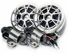 DC12V Silver Motorcycle Audio MP3  Player 2 Stereo Speaker Amplifier Waterproof