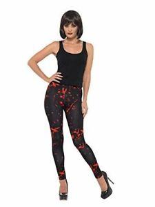 Horror Leggings Black & Red with Blood Splatter