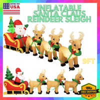 9 Ft Christmas Inflatable Santa Claus Reindeer Sleigh Airblown Yard Decoration