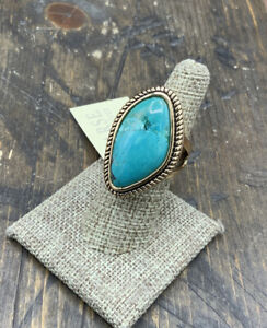 Barse Boulder Turquoise Ring- Bronze-7-NWT