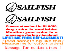 "PAIR OF 4.5""X 46"" SAILFISH BOAT HULL DECALS. MARINE GRADE. YOUR COLOR CHOICE 149"