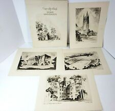 Vintage Full 8 Set Duke University Artist Etchings Print Collection by Day Lowry