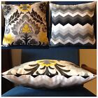 45x45cm Indoor/Outdoor Black/Grey/Yellow Santa Maria/Chevron Cushion Cover
