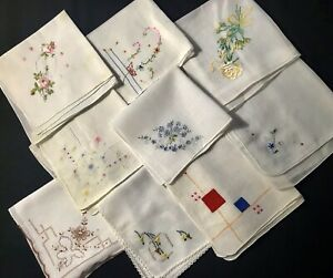 Nine Adorable Old Vintage Handkerchiefs Beautiful Colorful Floral Embroideries