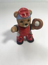 Baseball Bears Baseball Softball Bear Hind Catcher Figurine #1403 Red White Blue