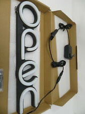 LED Open Sign for Business - Bright White Vertical Neon Style Open Light