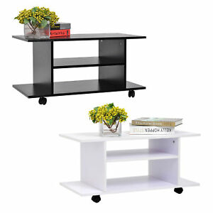 Modern TV Cabinet Stand 3 Tier shelf Storage Shelves Table Wheels