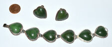 Early Mexican Silver Heart Shape Green Hardstone Bracelet Matching Earrings