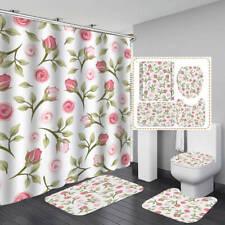 Pink Rose Pattern Shower Curtain Bath Mat Toilet Cover Rug Bathroom Decor