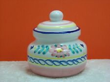 Jennifer Moore, White/Pink/Floral Covered Sugar Bowl, made in Italy
