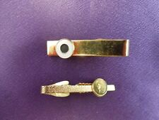 2 Tie Bar Clasp Clips - Indian Head Cent & White and Black Enamel Dot