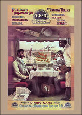 REPRINT PICTURE of old CH&D RAILROAD ad dining cars pullman compartment cars 5x7