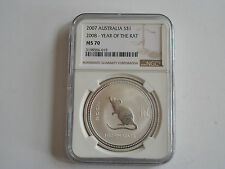 2007 Australia $1 NGC MS70 Year of the Rat 2008 #019 Chinese astrology .999 coin