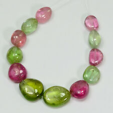 "Afghani Green Blue Pink Tourmaline Nugget  Beads 4.5"" Strand (12)"