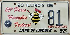 "Illinois 2005 ""Paris Honeybee Festival"" USA Number License Plate American Bee 81"