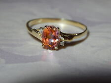 10K YELLOW GOLD YELLOW MYSTIC TOPAZ & DIAMOND ACCENT RING ~ SIZE 7