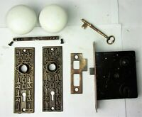 Antique Victorian EASTLAKE Backplate White Porcelain Door Knob Mortise Lock Key