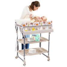 2 IN 1 Baby Changing Table Bath Tub Rolling Unit Station Storage Trays Dresser