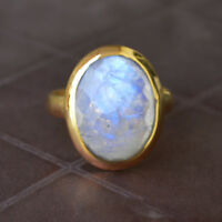 Blue Fire Faceted Rainbow Moonstone Gemstone 14K Yellow Gold Gift Ring Size 8