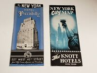 Vtg 2 1940s NYC New York City Hotel Brochures - Piccadilly, Knott with Map