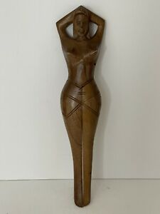 Vintage Nutcracker Hand Carved Wooden Naked Nude Woman Lady Folk Art Carving
