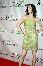 New SUE WONG NOCTURNE 6 Small Celadon Green Gold Beaded Sequin Strapless Dress S