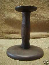 Vintage Tin & Wood Hog Scraper Candlestick Antique Old