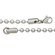 Solid 304 Surgical Stainless Steel 3.2mm Ball Chain Dog Tag Style Necklace