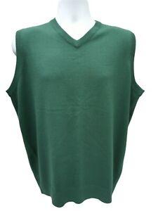 James Pringle Jumper Tank Top Men Large Dark Green V-neck preppy sleeveless knit