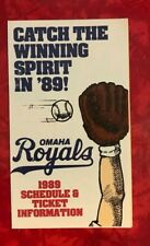 1989 OMAHA ROYALS MINOR LEAGUE BASEBALL FOLDOUT POCKET SCHEDULE