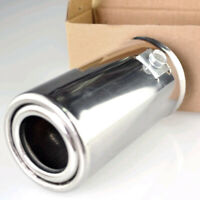 Silver Auto Car Rear Round Exhaust Pipe Tail Throat Muffler Tip Stainless Steel