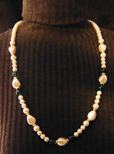 Richelieu Faux Pearl Emerald Green Beads Gold Necklace Strands 14.5 in Long Tags