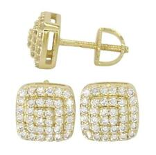 Mens 8mm Square Studs 18k Gold Plated Cz Hip Hop Screw Back Stud Earrings
