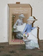 Wellington Collection - Porcelain Girl with Flowers. Figurine. New with Box. Nib
