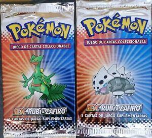 POKEMON Ex Ruby & Saphire Spanish - 3 Sealed Booster Packs 2003