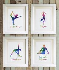 "SET OF 4 Yoga Prints, 5""x7"" UNFRAMED, Watercolour Style, Namaste, Picture Gift"