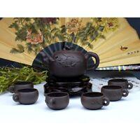 """Chinesisches Teeservice aus Yixing-Ton """"Mystisches Blattwerk"""" Keramik China"""