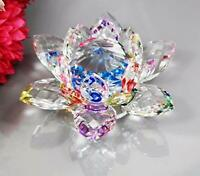 Colorful Rainbow Color Crystal Sparkle Crystal Lotus Flower Ornaments Craft Deco
