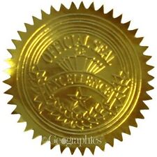 Geographics Gold Seals & Stickers Embossed Foil Seal, 100 Per Pack (20014)
