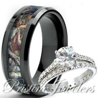 Her Sterling Silver Ring His Black Tungsten Mossy Tree Camo Men Oak Wedding Band