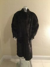 VTG American Signature Mod Acrylic Fake Fur Faux Mink Full Length Long Coat M/L