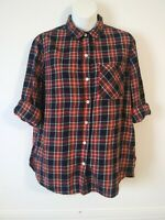 Old Navy Red Plaid Classic Button Up Cotton Shirt Long Sleeve Size Medium