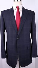 Hickey Freeman Madison Blue Windowpane Check Two Button Wool Suit 41-42 R 35 32