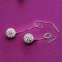 Sparkling Crystal Ball Sphere Threader 925 Sterling Silver Plated Drop Earrings