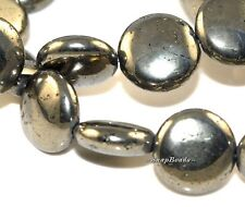 14MM PALAZZO IRON PYRITE GEMSTONE FLAT ROUND CIRCLE COIN BUTTON LOOSE BEADS 16""