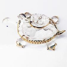 Blue Sea Ornament  Animal Turtle Hand Miniature Crystal Art Blown Glass Figurine